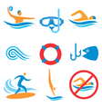 Water sport icons vector image