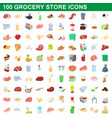 100 grocery store icons set cartoon style vector image vector image