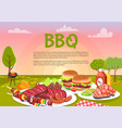 bbq picnic on cute meadow vector image