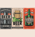 brewery factory beer pub and cafe poster vector image vector image