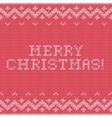 Card of Merry Christmas 2016 with knitted texture vector image