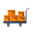 cardboard boxes on truck in flat design vector image vector image
