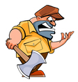 cartoon angry man lumberjack with an ax vector image vector image