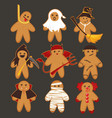 cartoon cute funny halloween cookies gingerbread vector image vector image