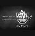 chalk drawn sketch con panna coffee vector image vector image