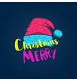 christmas poster with a cap santa claus vector image vector image