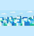 cityscape with buildings private houses and trees vector image
