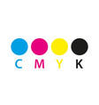 cmyk print icon four circles in cmyk colors vector image vector image