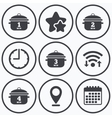 Cooking pan icons Boil one four minutes vector image vector image