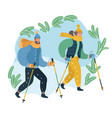 couple husband and wife engaging nordic walking vector image vector image