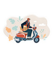 courier ride scooter man vector image