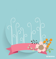 Cute card with ribbon and floral bouquets vector image vector image