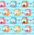cute funny happy flavored milk box and hearts vector image vector image