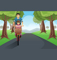 dad daughter biking together vector image