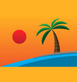 evening beach flat summer season vector image