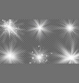 flares and rays effect white light burst star vector image