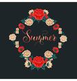 Floral Frame Red Roses Summer Time vector image
