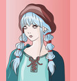 french anime woman with beret bonet on her head vector image vector image