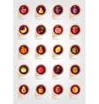 Fruits mapping pins icons vector image vector image