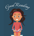 good reading poster with brunette young girl vector image vector image