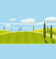 green landscape with yellow fields lovely rural vector image