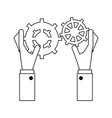 hands with gears black and white vector image vector image
