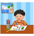happy boy writing on a book vector image vector image