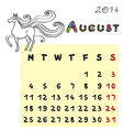 horse calendar 2014 august vector image vector image