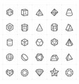 icon set - geometric shapes icon outline stroke vector image vector image