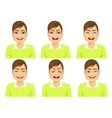 isolated set of male avatar expressions vector image vector image