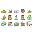 locations and city icons set vector image vector image