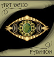 luxury art deco filigree brooch jewel with green vector image vector image