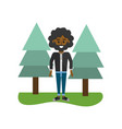 man curly hair and pine trees vector image vector image