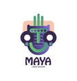 maya logo original design emblem with tribal mask vector image vector image