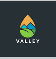 modern abstract valley and leaf landscape logo vector image