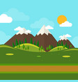 Nature landscape with mounties in flat style