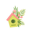 nesting box and bouquet of flowers hello spring vector image