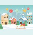 new year 2020 greeting card village houses sled vector image