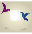Origami Birds Holding Empty Paper Banner vector image