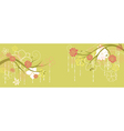 Panorama with spring branches and flowers vector image vector image