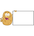 Potato Character Holding A Blank Sign vector image