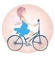 Pregnant girl in blue dress rides a Bicycle vector image vector image