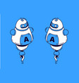 robot in isometric style on blue background vector image
