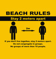 safe distance beach rules banner vector image vector image