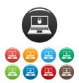 secured laptop icons set color vector image