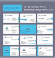 set of 12 boat creative busienss card template vector image vector image