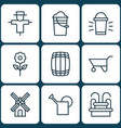 set of 9 plant icons includes hang lamp bucket