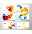 Set of abstract colorful splash gift cards vector