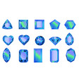 set of gems diamonds of blue vector image