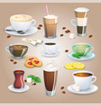 set of tea drinks sweets and bakery products vector image vector image